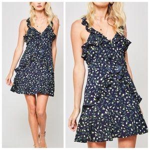 Navy blue floral ruffle detail mini dress